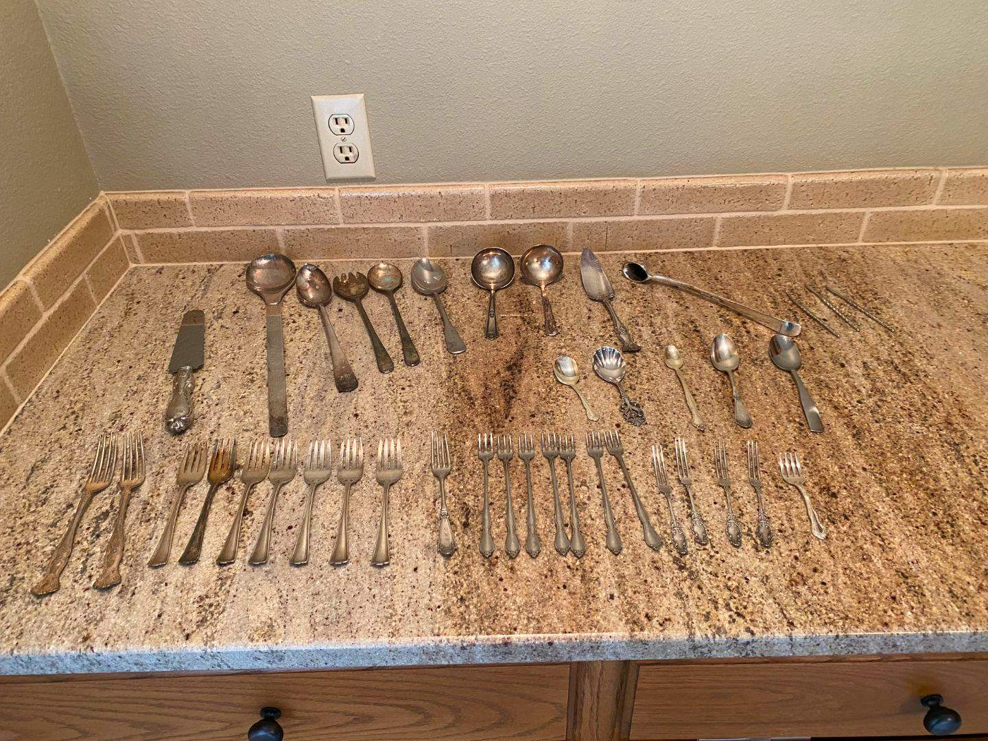 Lot # 30 - Misc Silver Plated & Stainless Flatware  (main image)