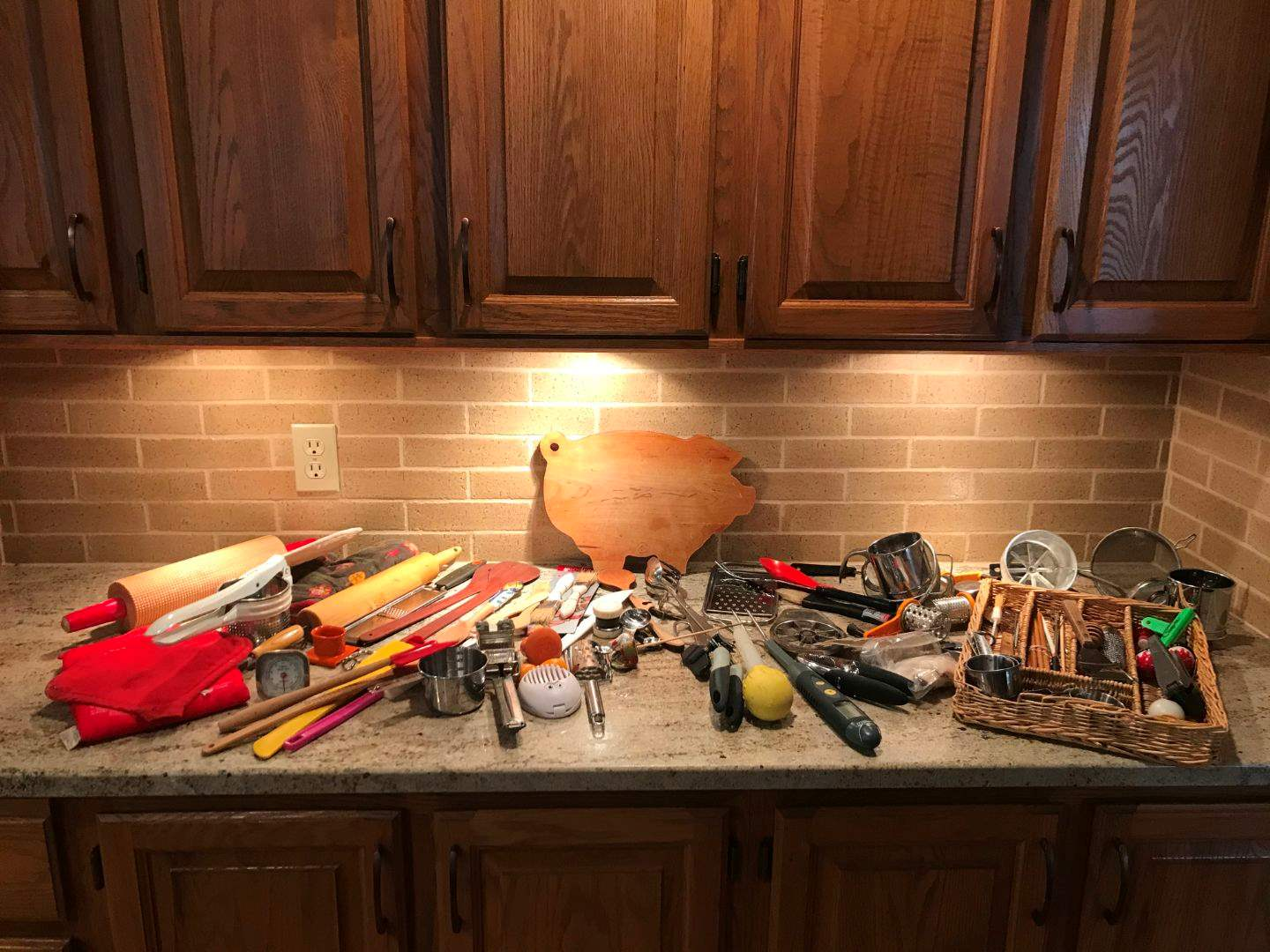 Lot # 62 - Kitchen Utensils; Wooden Spoons, Rolling Pins, Sifters, Oven Mitts, Measuring Cups & More.. (main image)