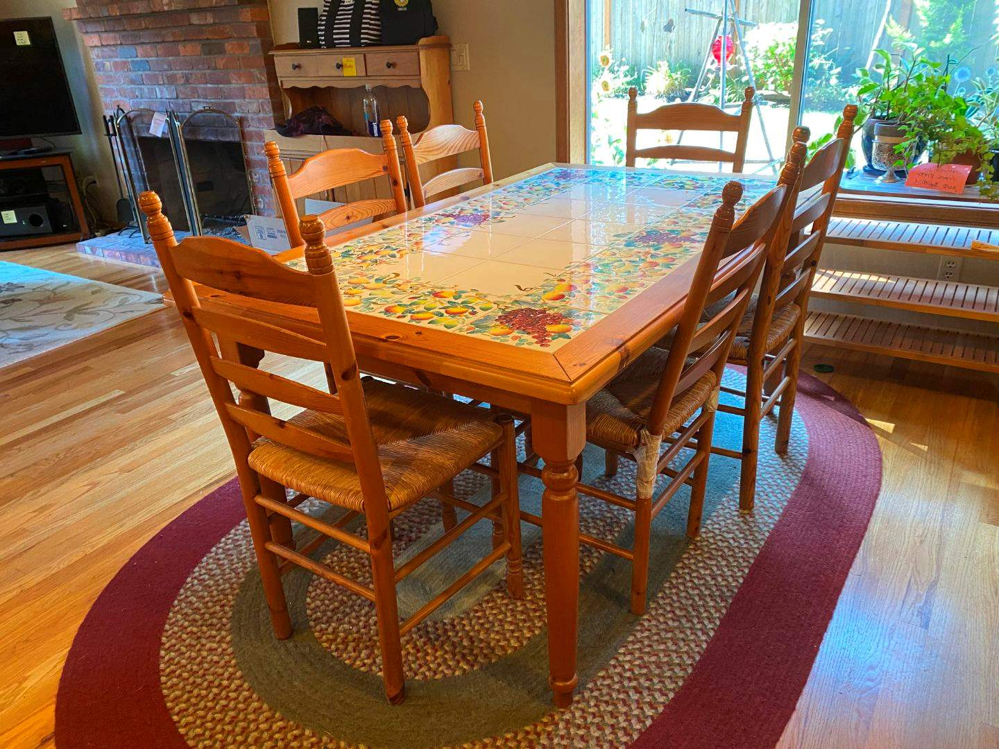 Lot # 32 - Nice Tile Topped Wood Dining Table w/6 Rush Chairs - (Made by Ceramiche Nicola Fasano Grottaglie from Italy). (main image)