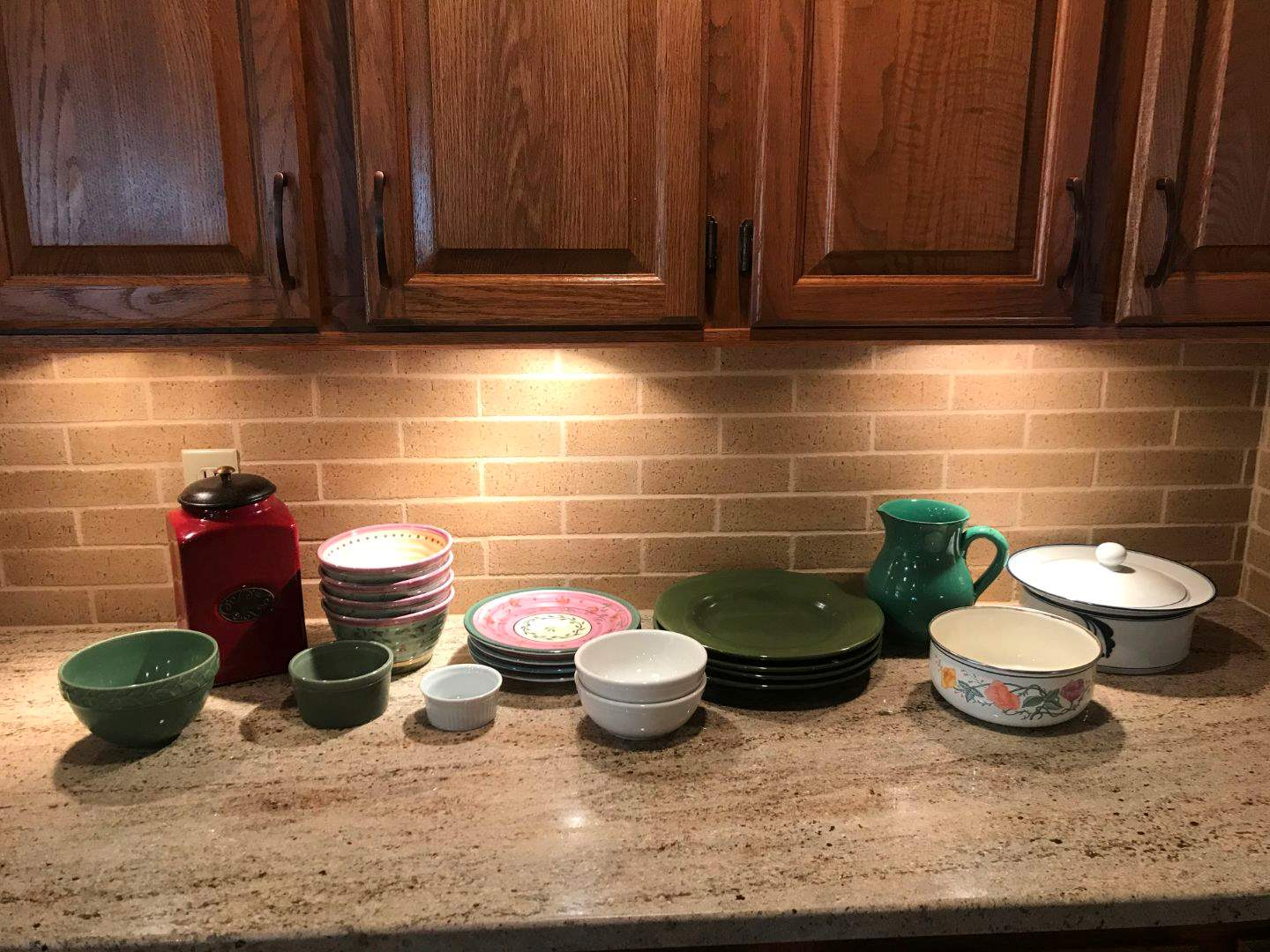 Lot # 68 - Bowls, Plates, Canisters, Pitcher & Serving Dish (main image)