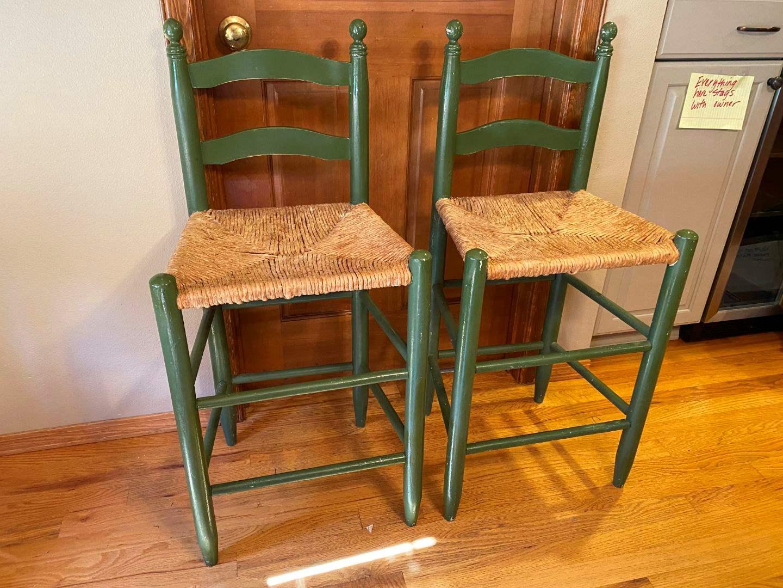 Lot # 41 - Two Wood Bar Stools w/Rush Seats (main image)