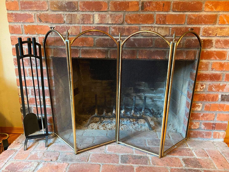 Lot # 49 - Fireplace Screen w/Fireplace Tools (main image)