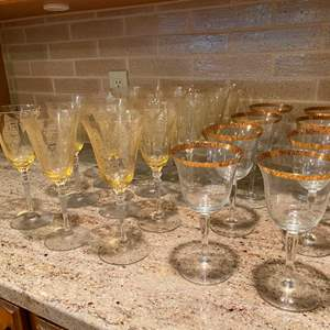 Auction Thumbnail for: Lot # 79 - Yellow Tinted Stemware & Gold Rimmed Stemware
