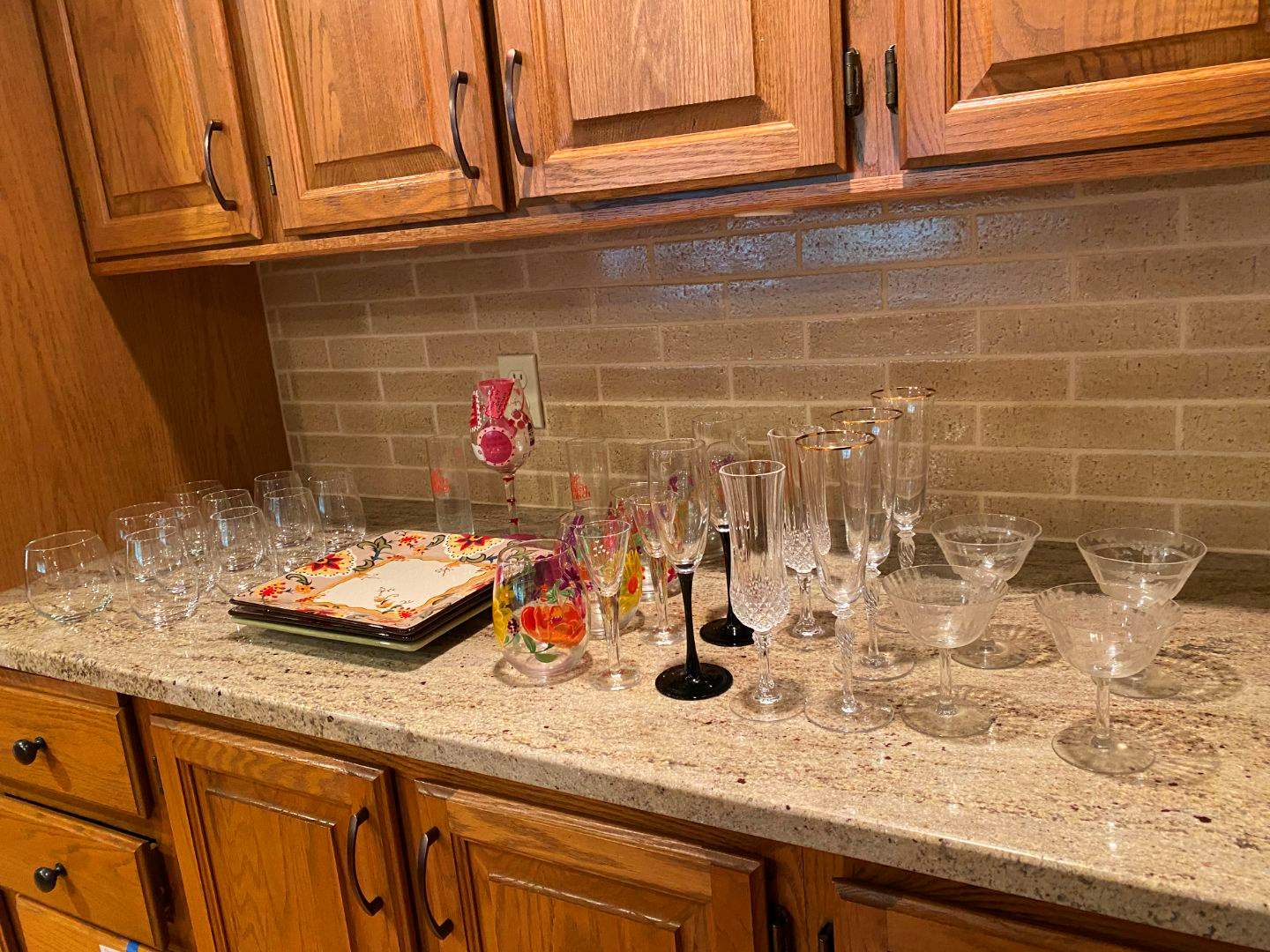 Lot # 85 - Stemware, Painted Glasses, Hand Painted Plates & More.. (main image)