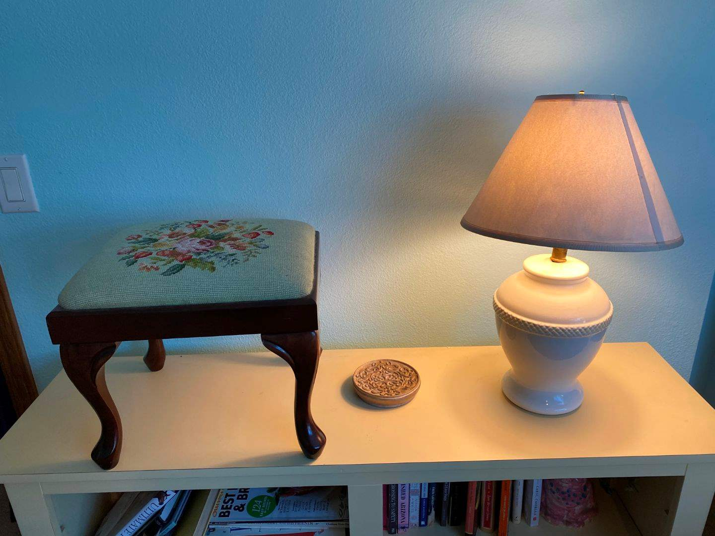 Lot # 115 - Small Foot Stool, Table Lamp & Candle Holder (main image)