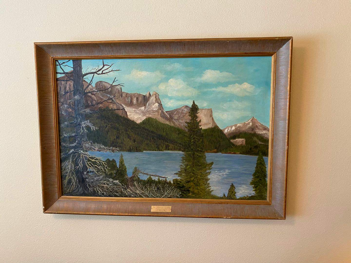 """Lot # 144 - Original Oil on Canvas by Fred A. Olson """"St. Mary's Lake"""" - 41"""" x 29"""" (main image)"""