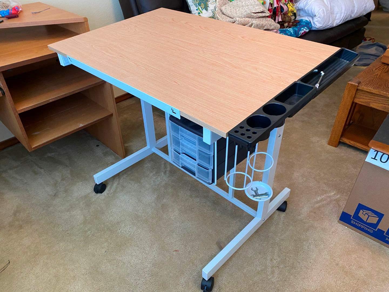 Lot # 146 - Metal & Wood Adjustable Crafting Desk w/ Decorative Pushpin Board (main image)