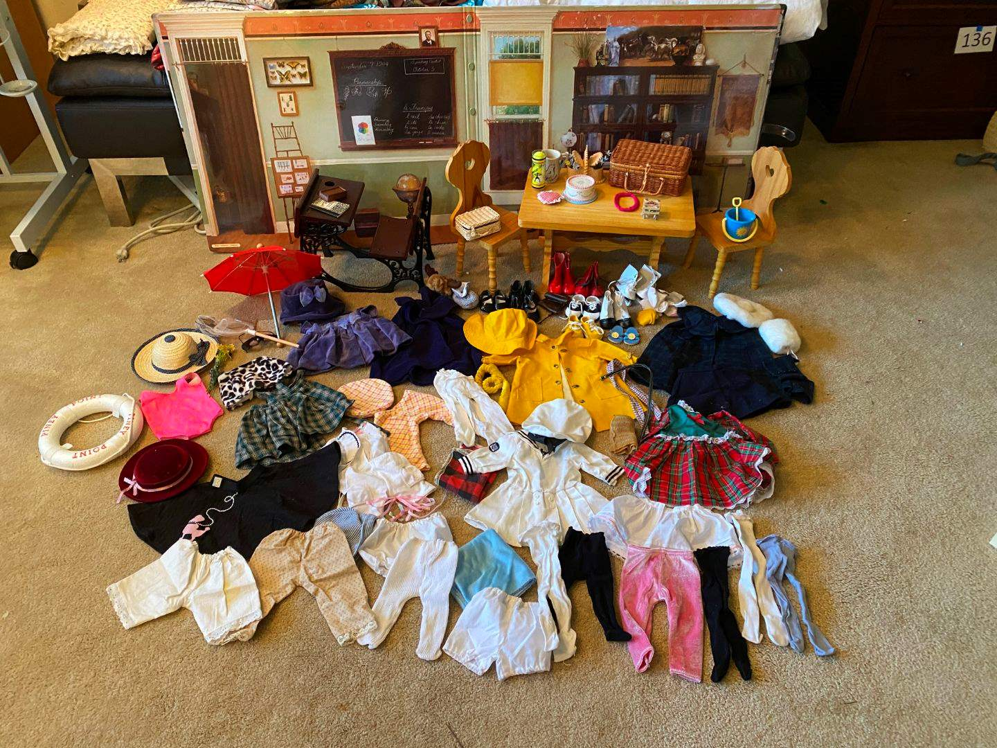 Lot # 161 - American Girl Doll Clothes, American Girl Table & Chairs, American Girl School Desk & Accessories,Scenes & Settings  (main image)