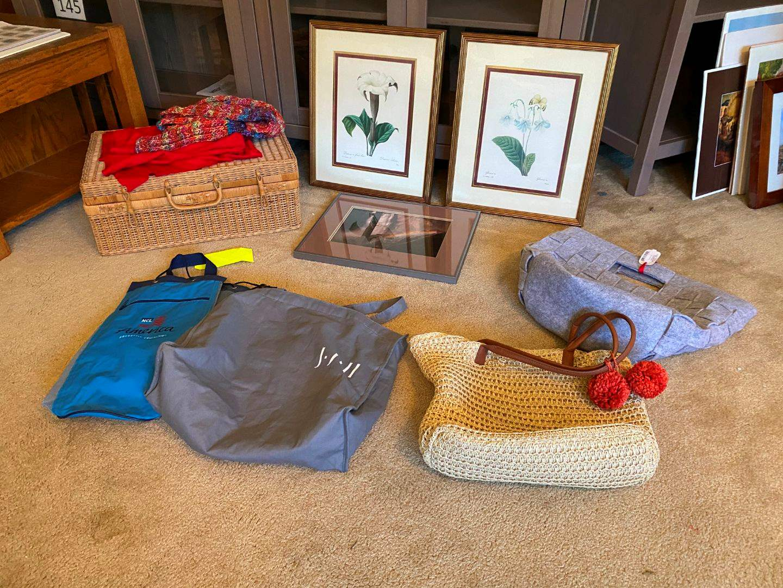 Lot # 173 - Wall Art, Hand Bags, Wicker Basket & More.. (main image)