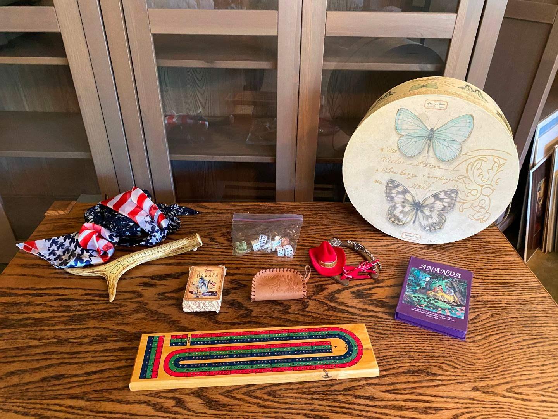 Lot # 174 - Hand Made Antler Cribbage Board, Cards, Incense, Scarves & More.. (main image)
