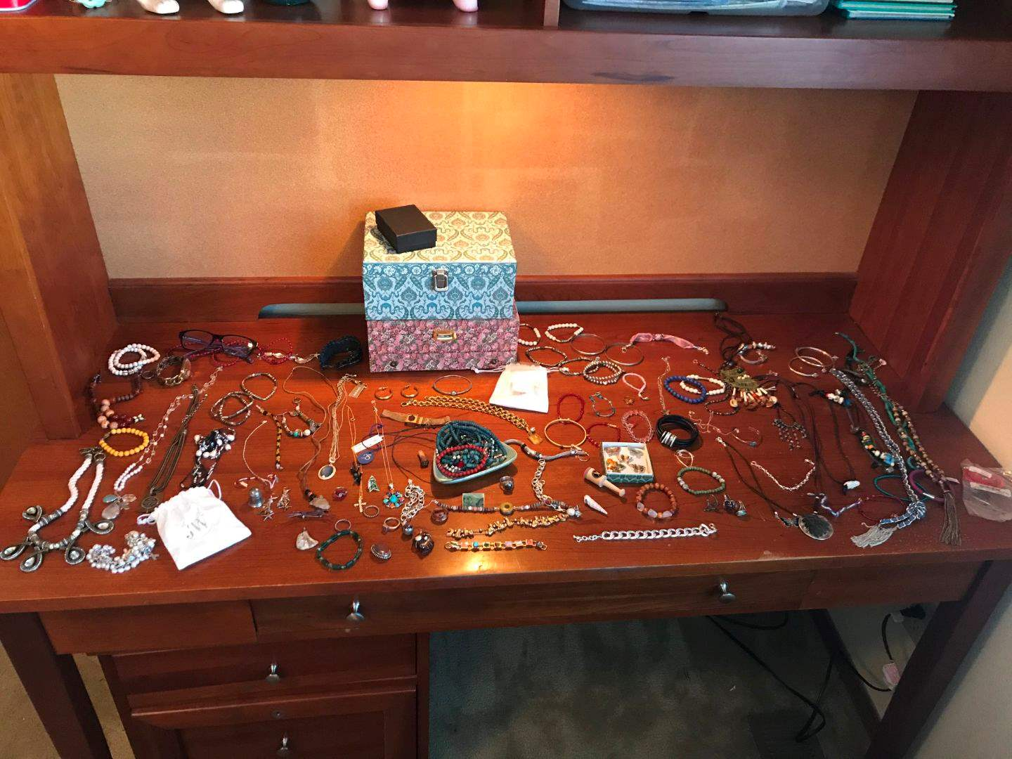 Lot # 171 - Jewelry Item's: Beaded Necklaces, Jewelry Boxes, Earrings, Bracelets & Pins  (main image)