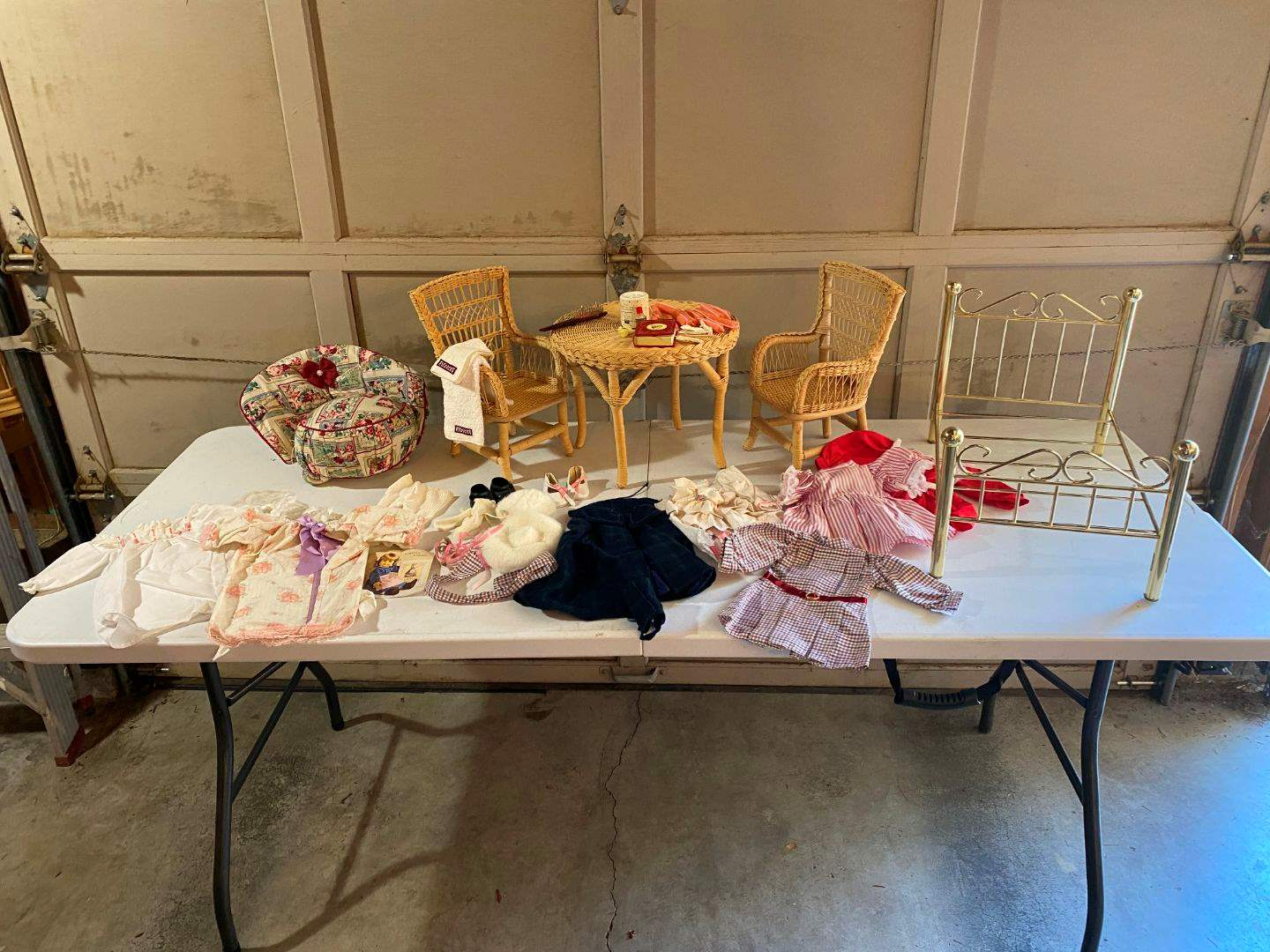 Lot # 194 - American Girl Beautiful Wicker Table & Chairs, American Girl Bed & Clothes  (main image)