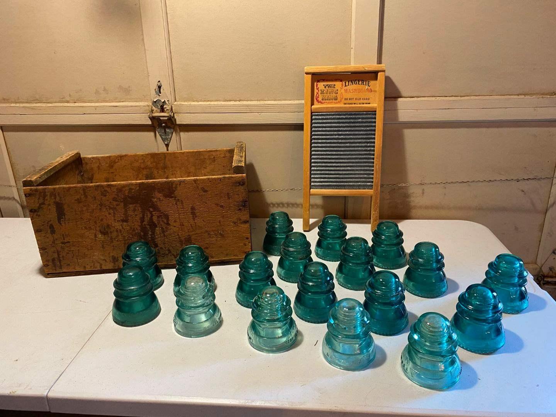 Lot # 203 - Vintage Glass Insulators, Antique Wood Crate, Vintage Wash Board. (main image)