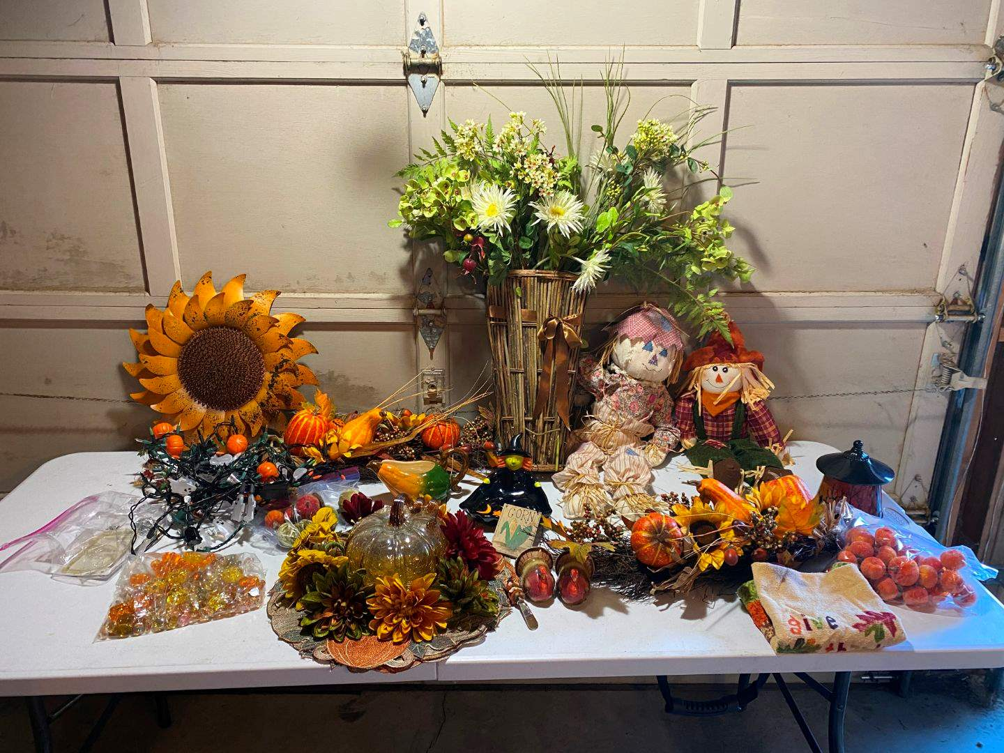 Lot # 205 - Fall Harvest & Halloween: Glass Pumpkin, Leaf & Pumpkin Decor, Lights, Salt & Pepper Shakers & More. (main image)