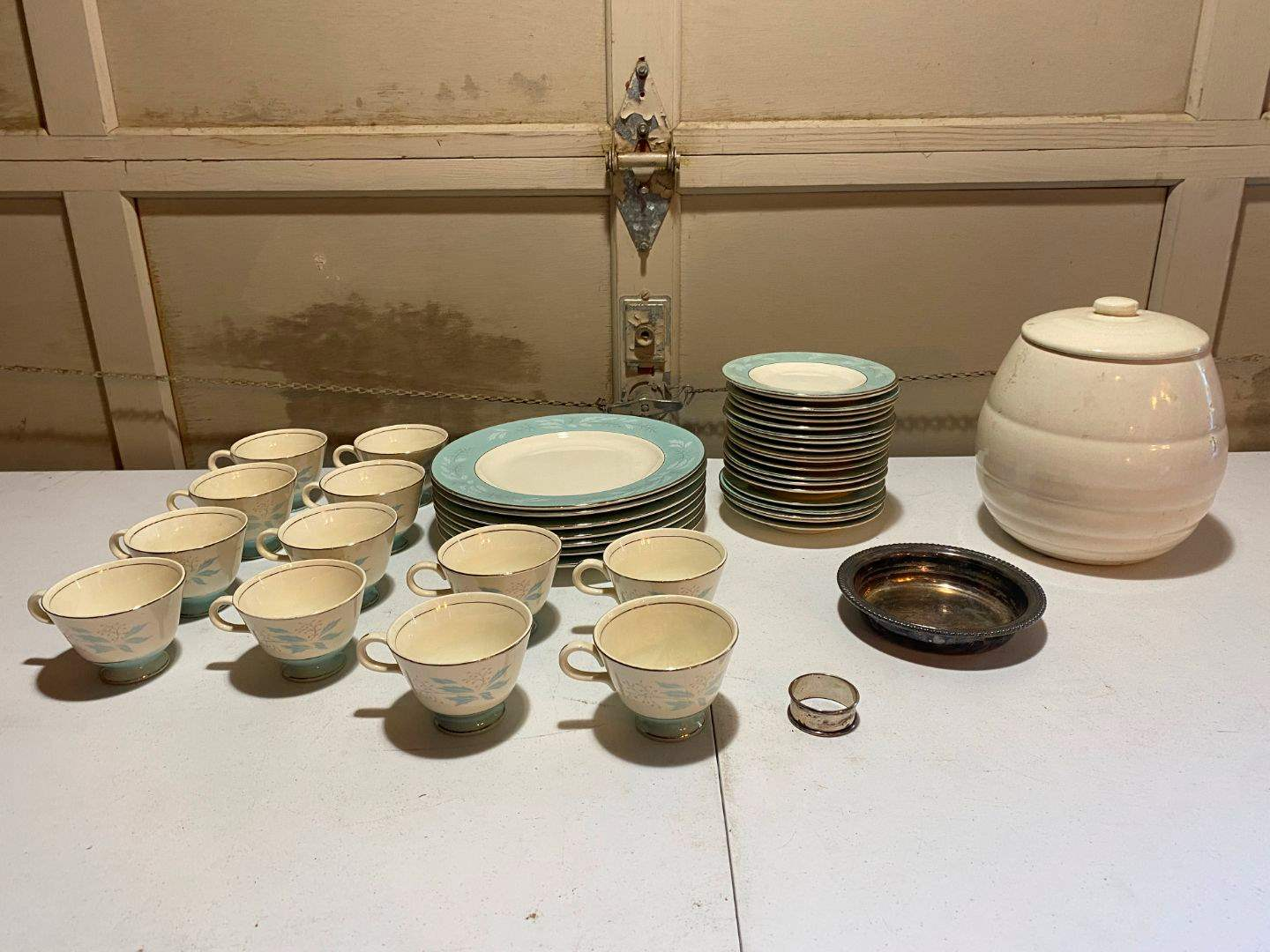 Lot # 207 - Sterling Silver Napkin Ring, Homer Laughlin Cavalier China, Cookie Jar. (main image)