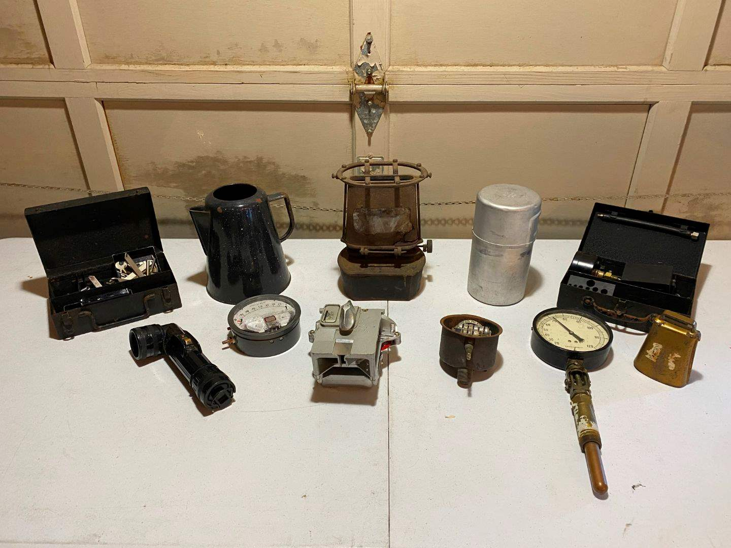 Lot # 212 - Antique Iron Clad Lamp Stove, Vintage Parking Meter, Misc Gauges, Military Flashlight & More. (main image)