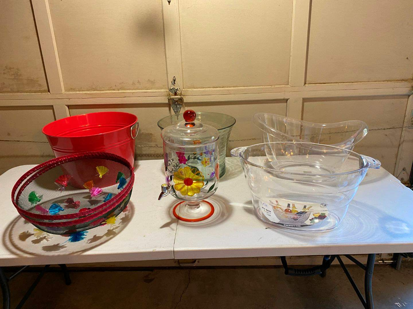 Lot # 220 - Hand Painted Glass Drink Dispenser, Plastic & Metal Bins. (main image)