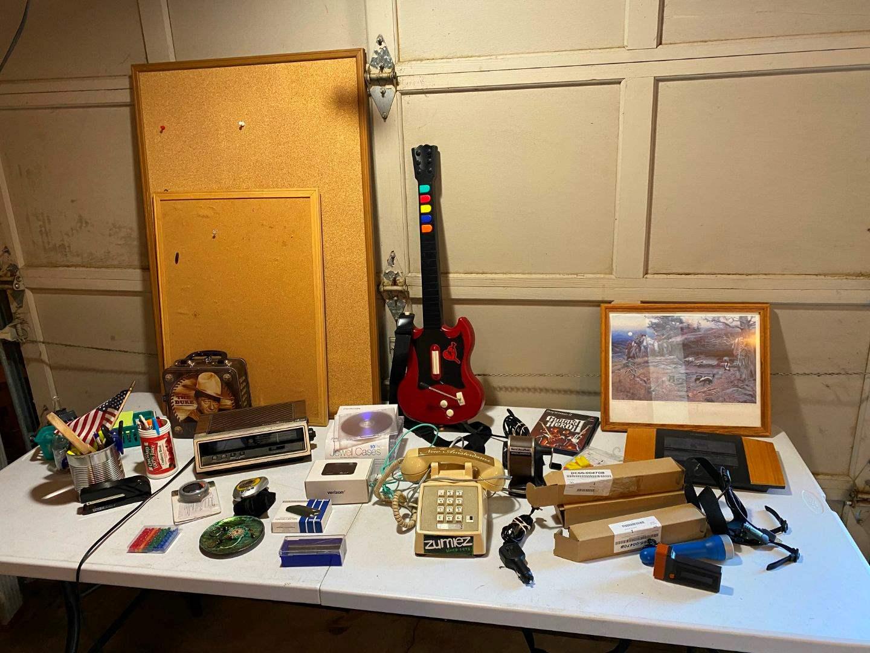 Lot # 229 - Misc Items: Cork Boards, PlayStation 2 Guitar Hero, Pencil Sharpener, Wall Art & More. (main image)