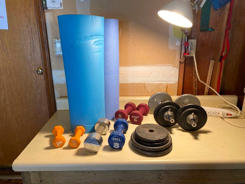 Lot # 232 - Three yoga Mats w/ Weights (main image)