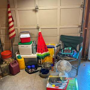 Auction Thumbnail for: Lot # 236 - Camping: Coleman Stove, Coolers, Folding Chairs, Coleman Lantern, Cookware, Flags & More.