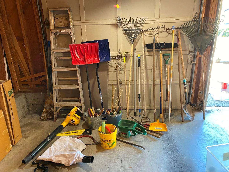 Lot # 245 - Gardening Tools: Shovels, Rakes, Hand Tools, Leaf Blower, Seeder, Werner Aluminum Step Ladder, Folding Table & More (main image)