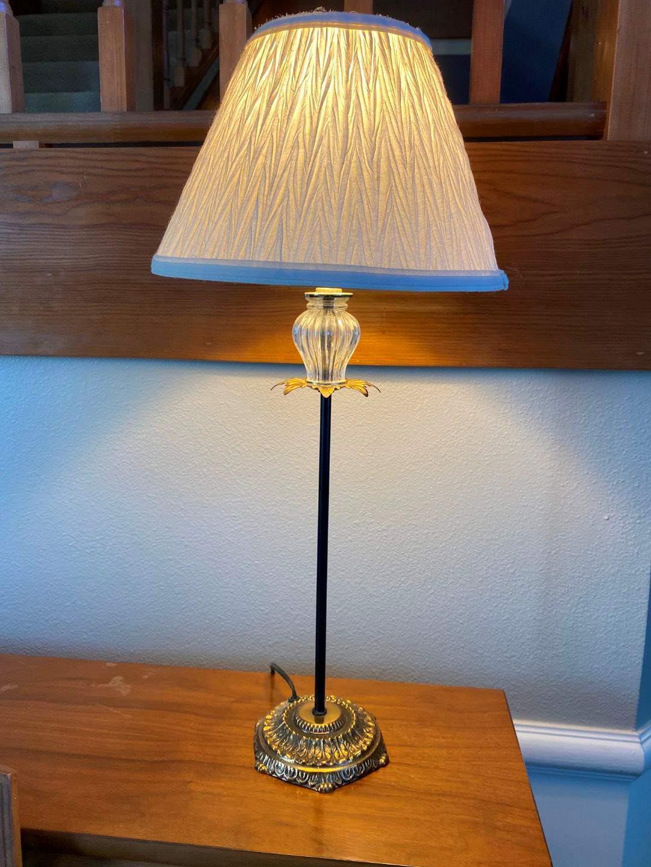"Lot # 13 - Vintage Metal & Glass Lamp - 23.5"" Tall  (main image)"
