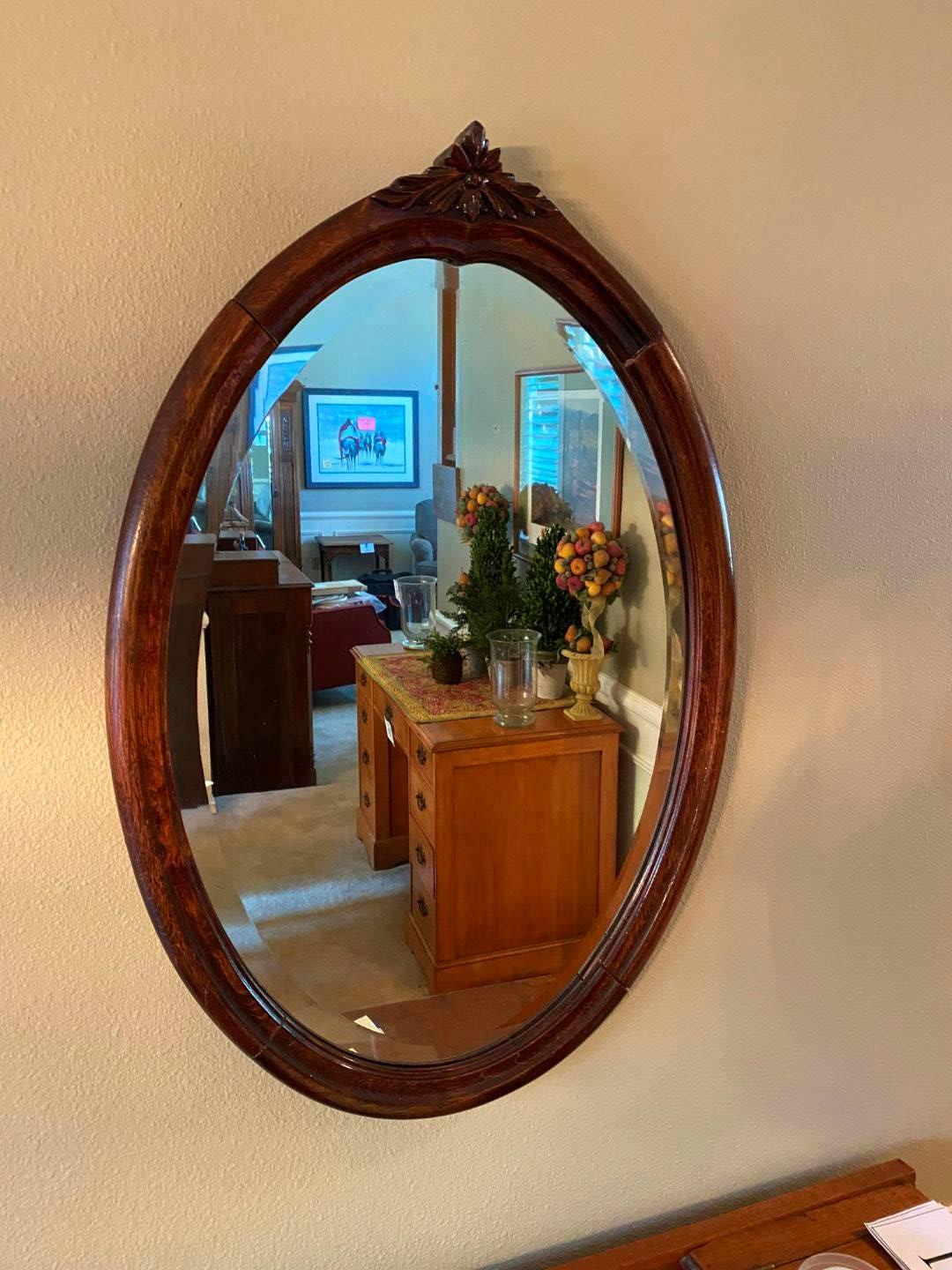 Lot # 18 - Beautiful Antique Wood Framed Mirror from William Peter Hohenschuh in Iowa City, Iowa (main image)