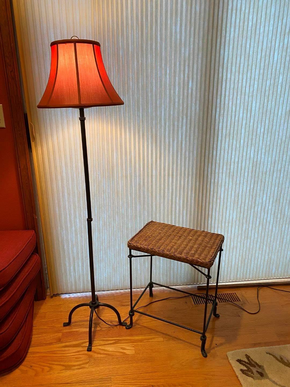 Lot # 82 - Metal & Wicker Side Table w/Metal Floor Lamp (main image)
