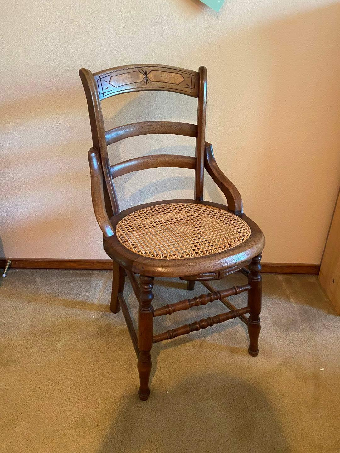 Lot # 135 - Antique Cane Bottom Chair  (main image)