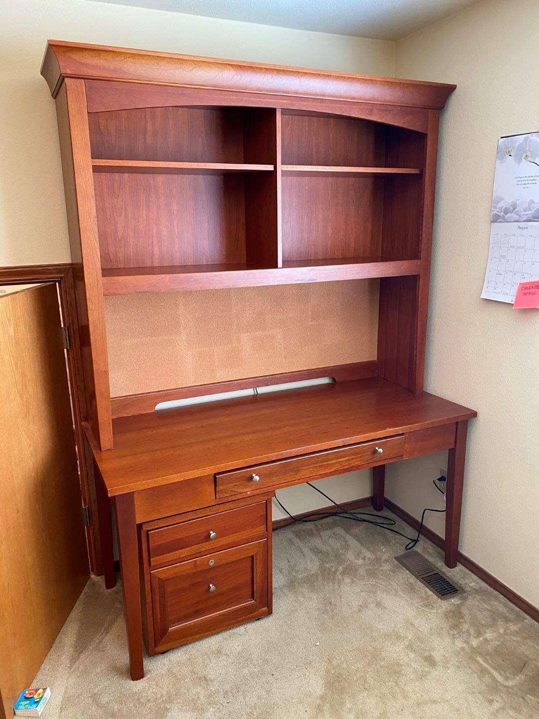 """Lot # 154 - Wood """"Hooker"""" Lighted Office Desk w/Dovetailed Drawers & Locking File Cabinet  (main image)"""