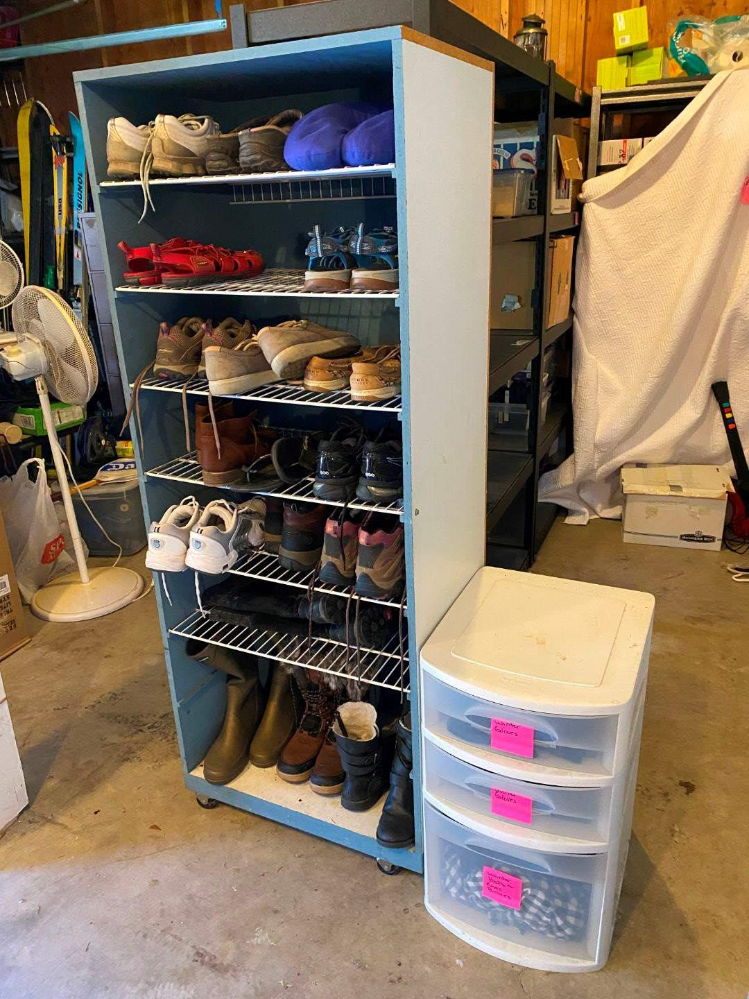 Lot # 219 - Rolling Shelf Full of Shoes w/ Bin Full of Hats & Gloves: Holly Hansen Boots, Eddie Bauer,K-Swiss, North Face & More (main image)