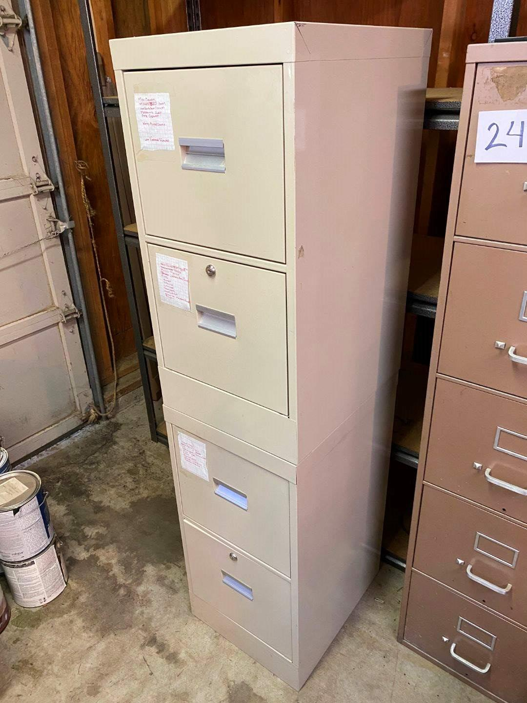 Lot # 242 - Two Metal Filing Cabinets Filled w/ Misc Items. (main image)