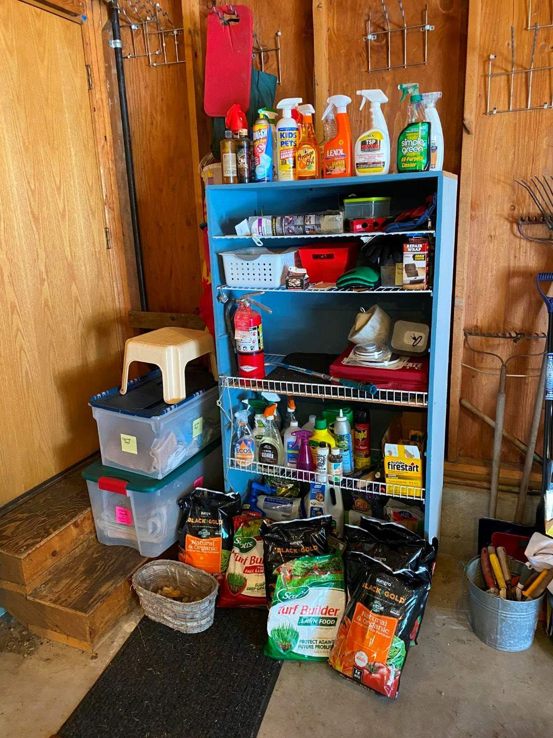 Lot # 248 - Shelf Full of Gardening Fertilizers, Chemicals, Fire Starters, Moving Blankets, Garage Rags & More -(Shelf Included) (main image)