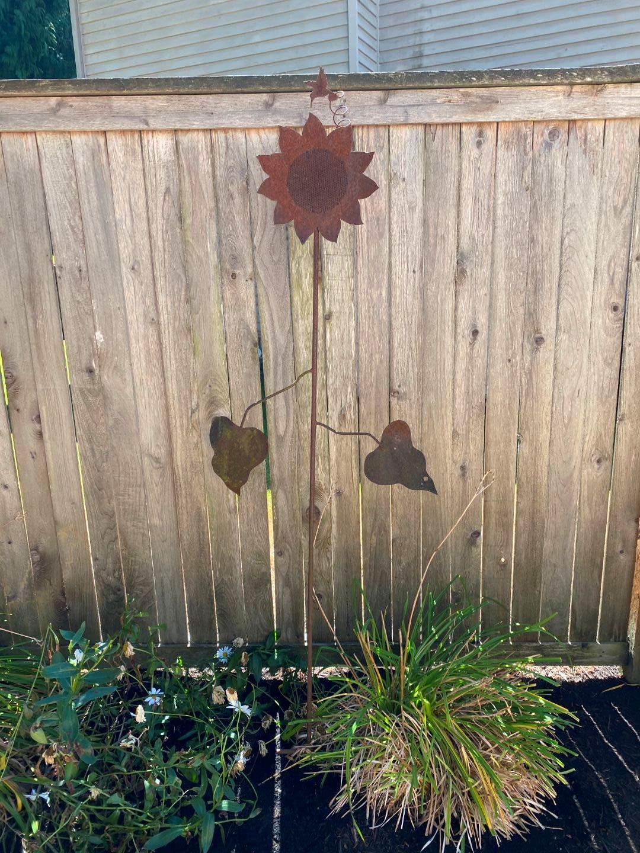 "Lot # 256 - Awesome Metal Sunflower Yard Art - (73"" tall) (main image)"