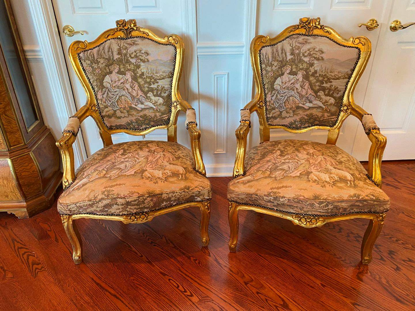 Lot # 4 - Set of Two French Provincial Hand Embroidered Wood Arm Chairs (main image)