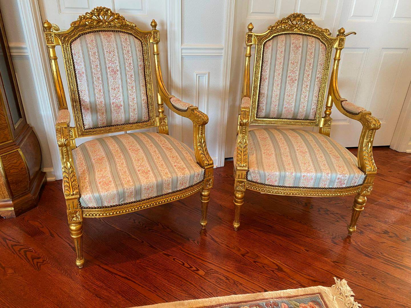 Lot # 14 - Vintage French Louis XV Style Upholstered Wood Parlor Chairs  (main image)