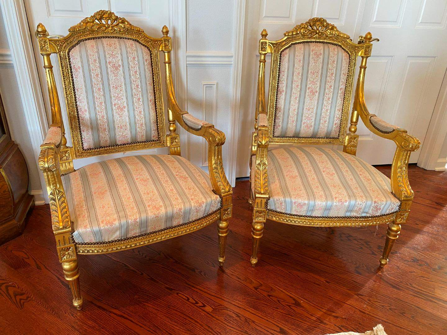 Lot # 16 - Vintage French Louis XV Style Upholstered Wood Parlors Chairs (main image)
