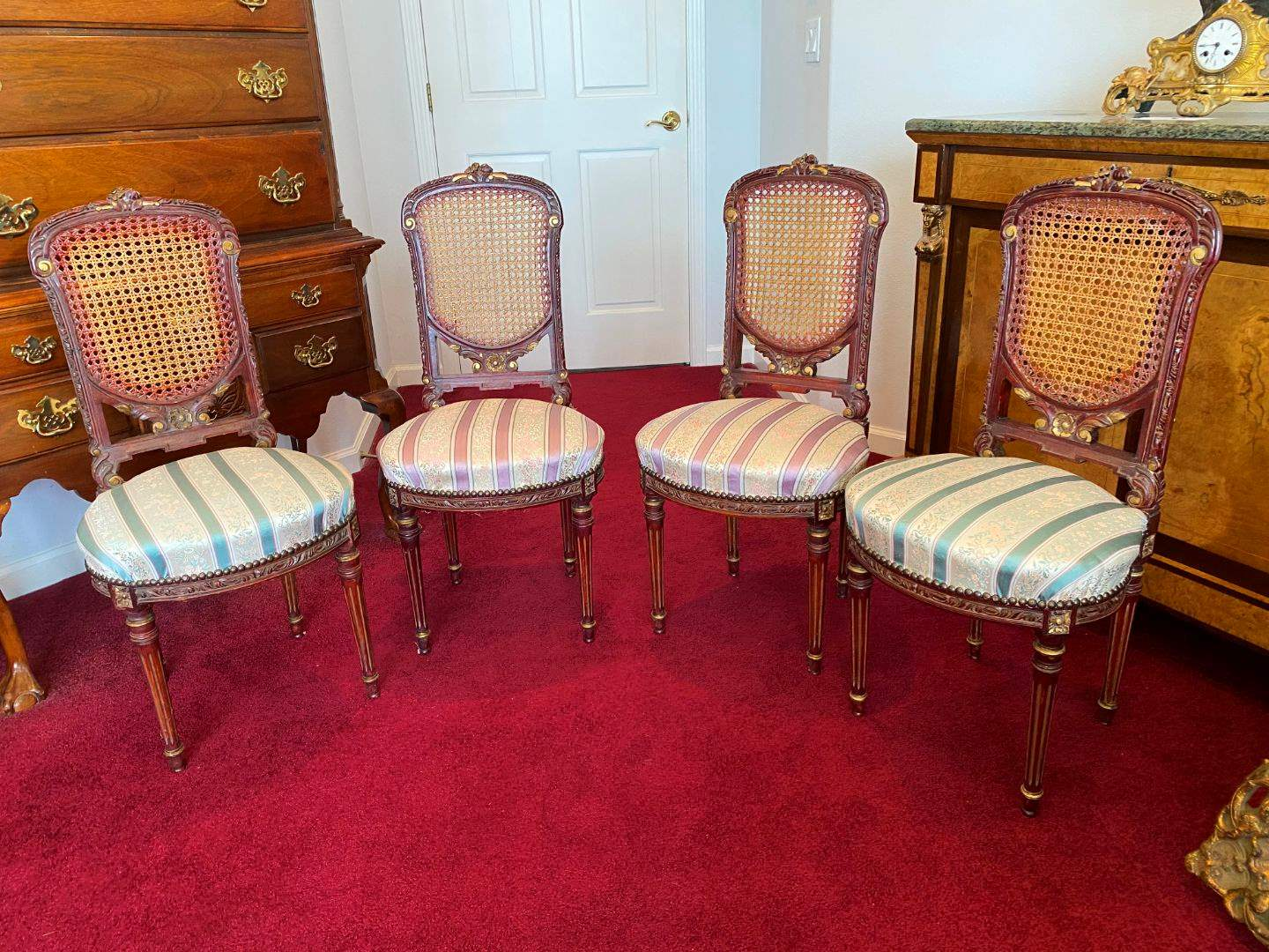 Lot # 18 - Four Antique Ornate Cane Back Chairs (main image)