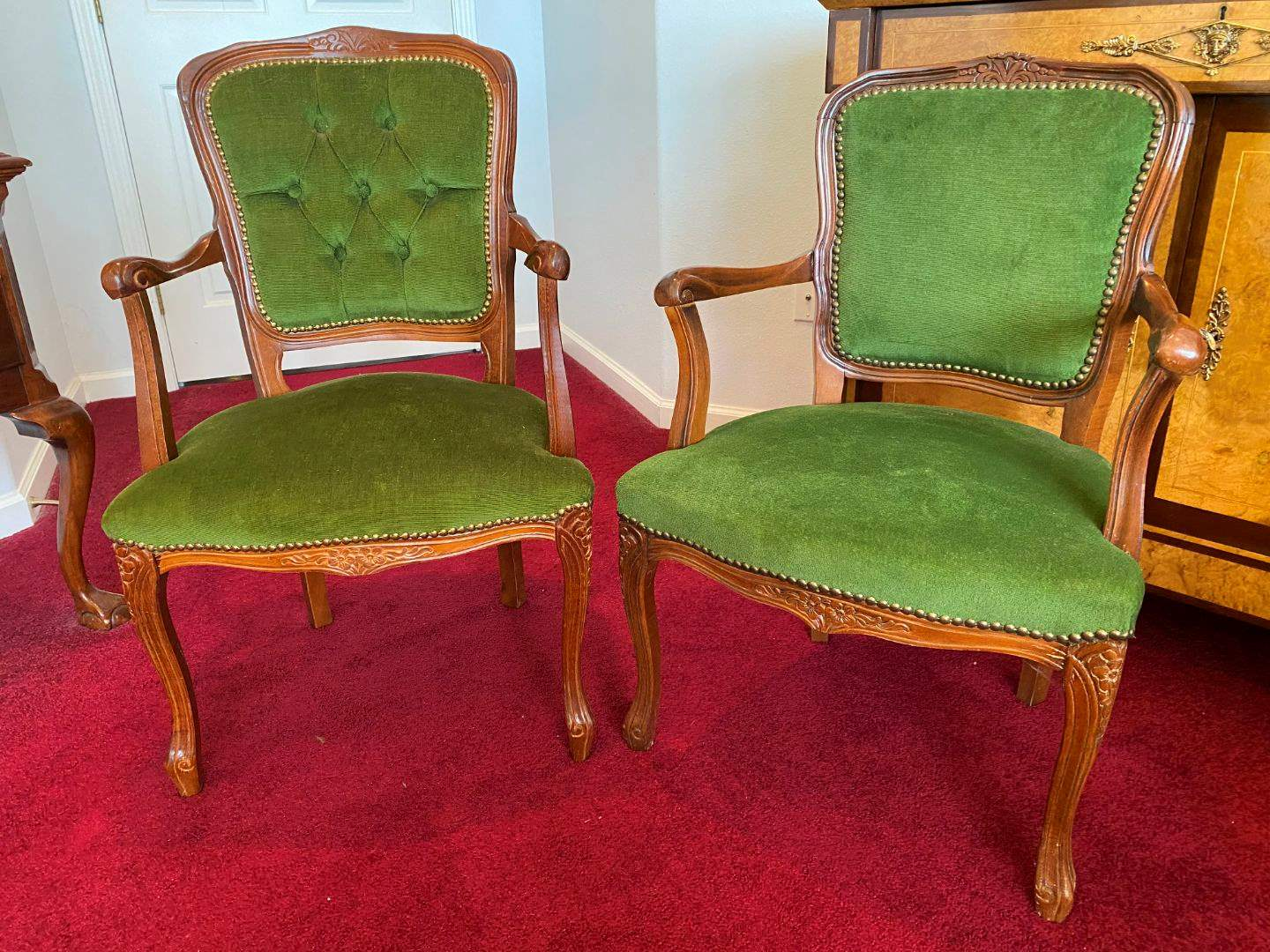 Lot # 19 - Two Antique Wood His & Hers Arm Chairs (main image)