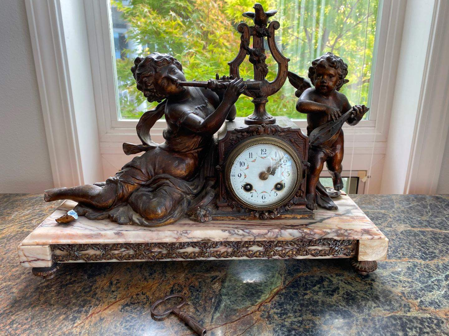 "Lot # 20 - Antique French Marble Base & Metal Mantle Clock w/Key ""Societe Clusienne S.C.A.P.H Cluses"" (main image)"