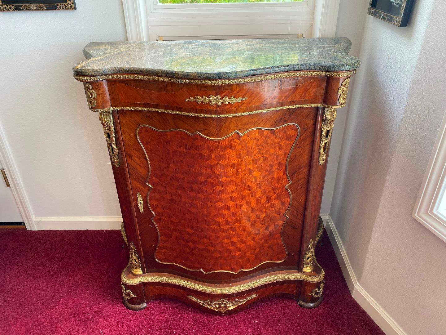 Lot # 26 - Vintage French Louis XV Style Marble Top Commode w/Brass Accents  (main image)