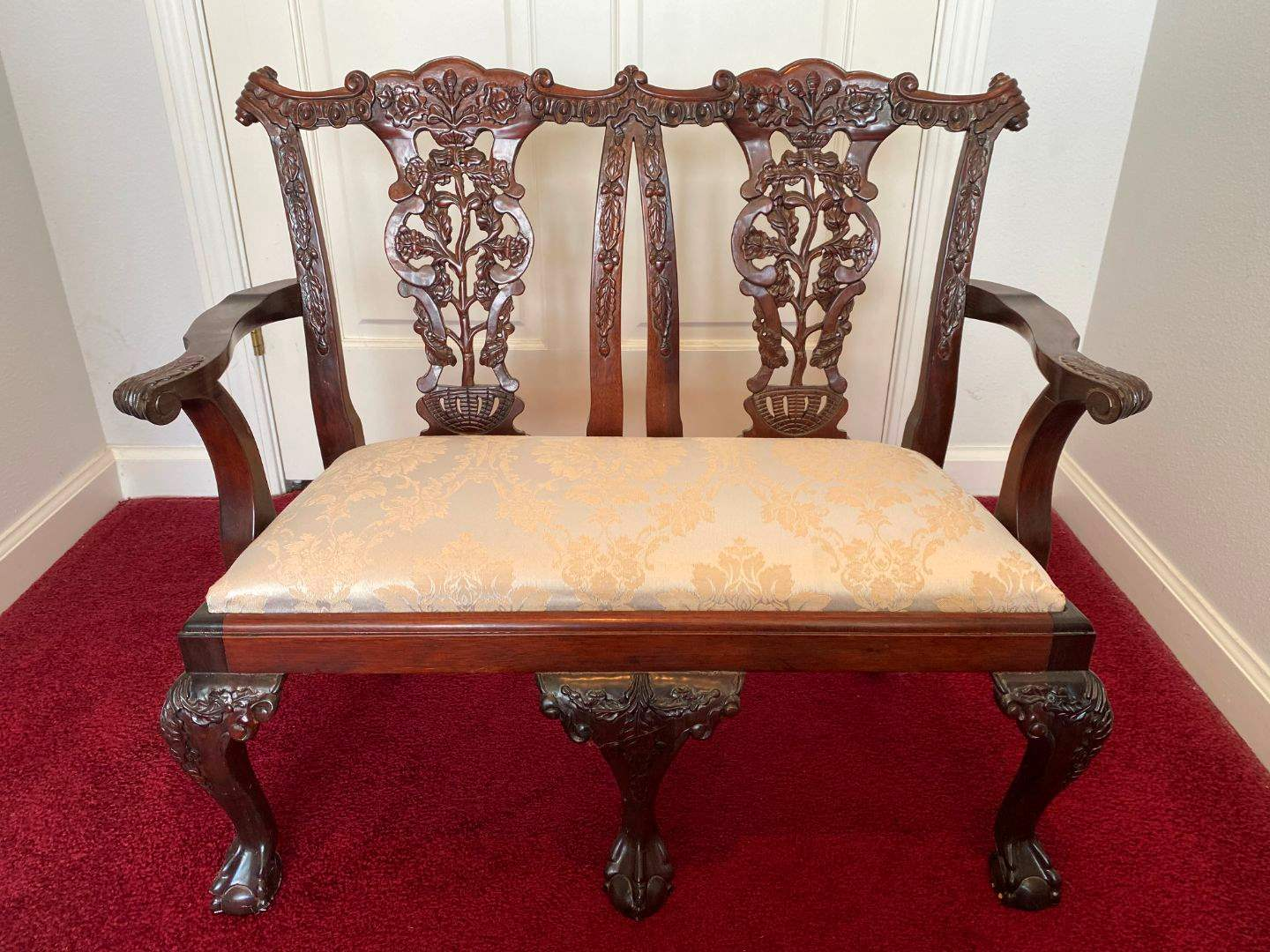 Lot # 31 - Cute Antique Child Size Claw Footed Ornate Bench  (main image)