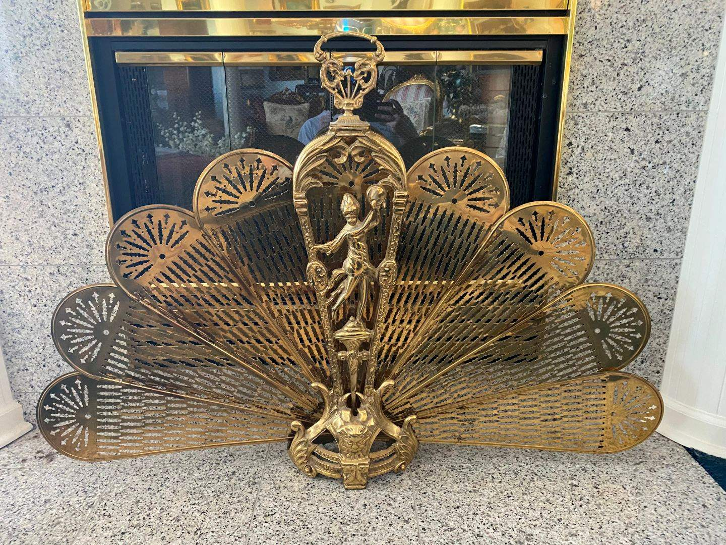 Lot # 34 - Brass Collapsable Fire Place Fan Screen  (main image)