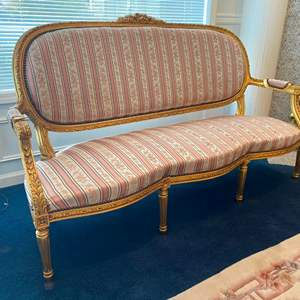 Auction Thumbnail for: Lot # 36 - Vintage French Louis XV Style Sofa