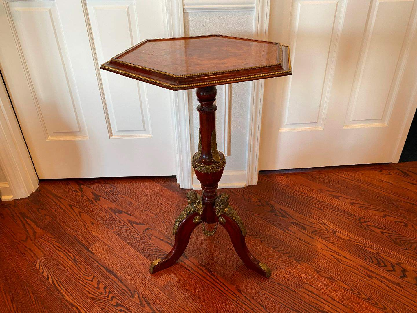 Lot # 39 - Vintage/Antique Wood Side Table w/Brass Accents  (main image)