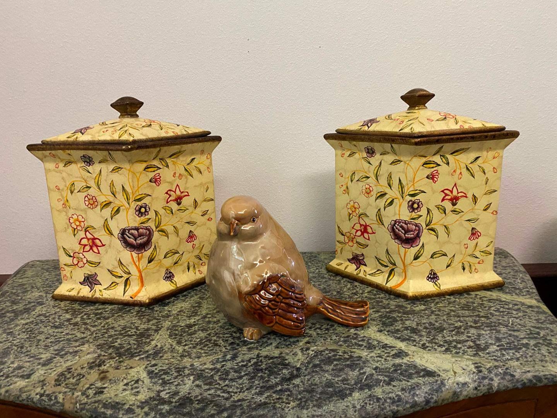 Lot # 43 - Two Ceramic Decorative Canisters w/ Ceramic Bird  (main image)