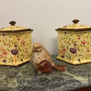 Auction Thumbnail for: Lot # 43 - Two Ceramic Decorative Canisters w/ Ceramic Bird