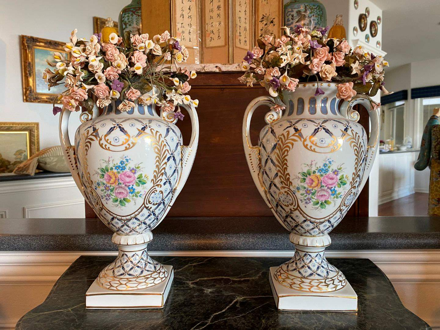 Lot # 47 - Two Beautiful Ceramic Vases w/Faux Clay Flowers (main image)