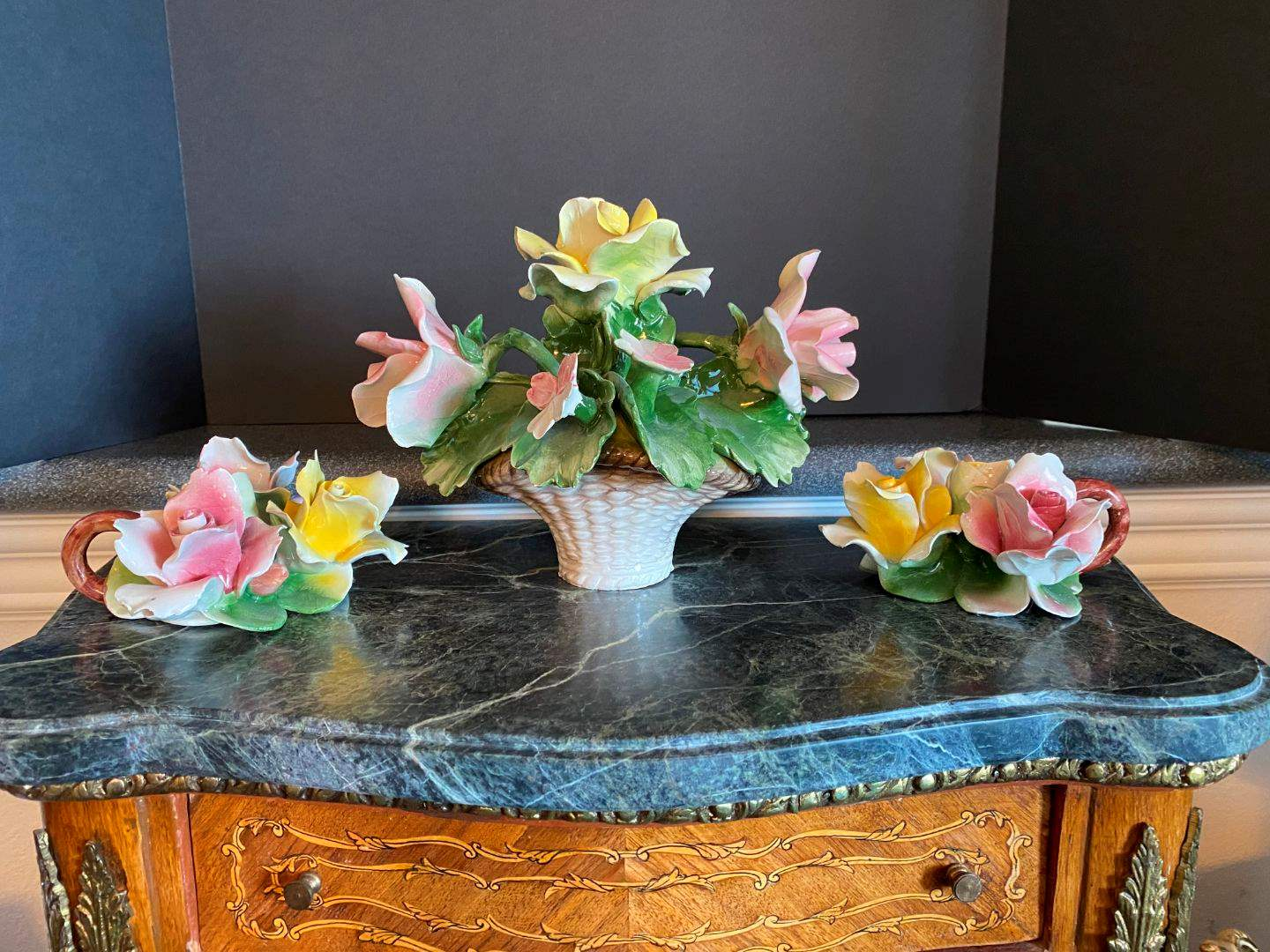 Lot # 55 - Beautiful Small Floral Piece of Capodimonte & Two Capodimonte Candle Holders (main image)