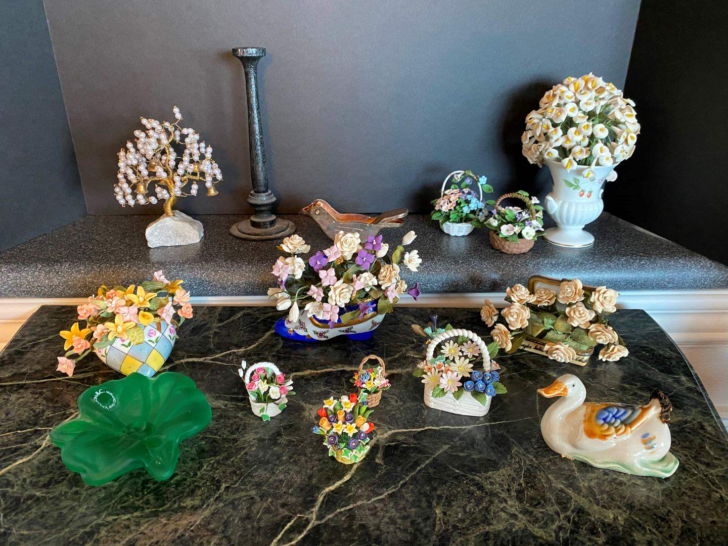 Lot # 65 - V. Nason & C. Murano Glass Flower, Small Trinket Boxes w/Clay Flowers & More.. (main image)